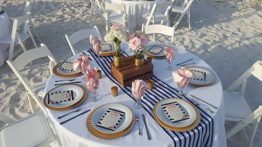 Beach wedding reception table setting